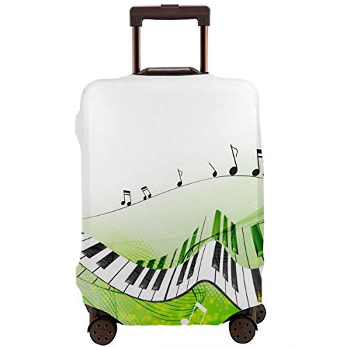 Travel Suitcase Protector,Music Piano Keys Curvy Fingerboard Summertime Entertainment Flourish,Suitcase Cover Washable Luggage Cover M