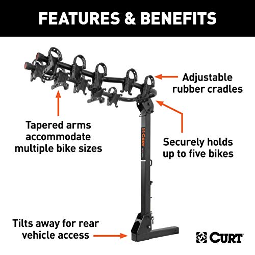 CURT 18065 Black Premium Hitch Bike Rack, Fits 2-Inch Receiver, 5 Bicycles