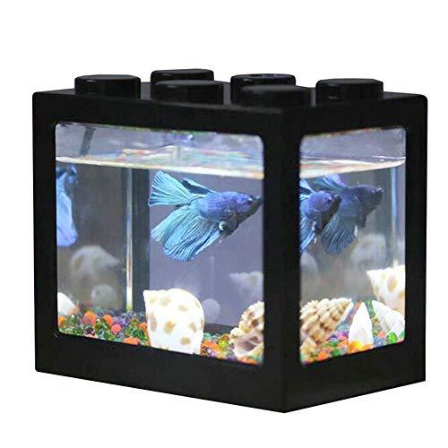 Lesgos - Mini Acquario con LED a Forma di Mini Acquario, da scrivania, con Porta USB, Decorazione per Ufficio, Soggiorno, tavolino da caffè, scrivania