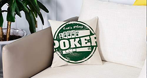 Square Soft and Cozy Pillow Covers,Decoraciones de torneos de póker, Vamos a Jugar Poker Stamp Royal Flush Grunge Vintage Full HOU,Funda para Decorar Sofá Dormitorio Decoración Funda de Almohada.
