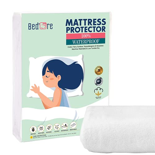 Bed'Ore Waterproof Single Mattress Protector 100% Cotton Terry Top - Fitted Mattress Cover - Machine Washable - Waterproof Mattress Protector Single - Deep 30 CM Stretch Skirt - Single(90x190+30) cm