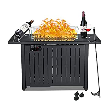 NAVINE Outdoor Propane Gas Fire Pit Table CSA Approved Safe 60,000BTU Auto-Ignition Propane Gas Fire Table - Glass Wind Guard Black Tempered Glass Tabletop Original Volcanic Rock  Black