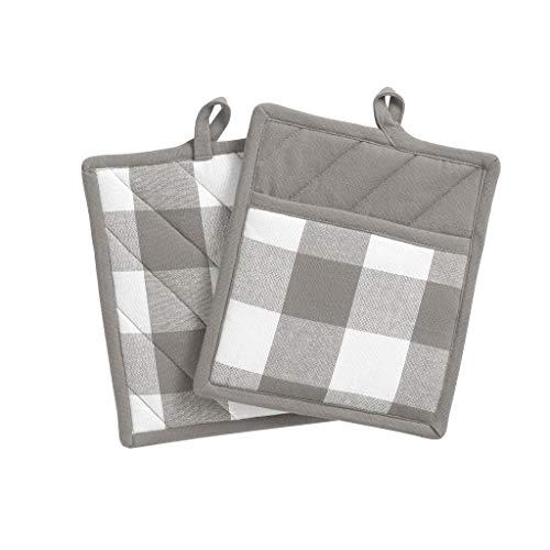 "Elrene Home Fashions Farmhouse Living Buffalo Check Pot Holder Pair, 8"" x 9"", Gray/White 2"