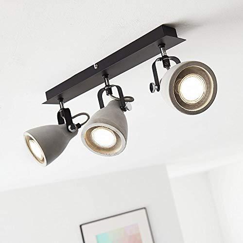 Lightbox LED Deckenstrahler, dimmbar, 3-flammig, Spotbalken LED Deckenleuchte schwenkbar, GU10 Fassung für max. 5 Watt, Metall, Beton Grau