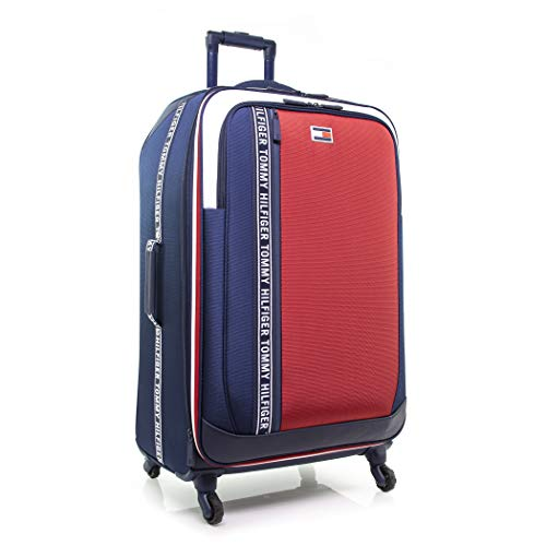 Tommy Hilfiger Sport Evolution Softside Expandable Spinner Luggage, Navy/Whte/Red, 28 Inch