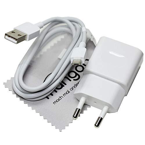 Ladekabel für Original Huawei HW-050100E01 + Datenkabel Ladegerät Weiß Micro-USB für Huawei P8/P8 lite/P8 lite 2017/P8max/P9 lite/P10 lite mit mungoo Displayputztuch