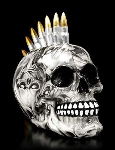 Figuren Shop GmbH Gothic Totenkopf mit Patronen Iro - Soul Bullet | Fantasy Skull, individuell Bedruckt, H 15 cm