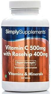 Vitamina C 500mg y Rosa Mosqueta 400mg - 360 comprimidos - hasta 1 año de suministro