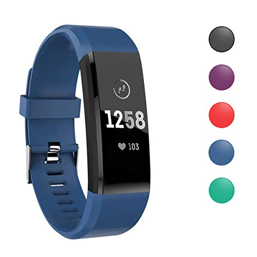ATETION Pulsera de Actividad Inteligente, Impermeable Reloj Inteligente con Pulsómetro Podómetro Calorias Monitor de Sueño, Pulsera Actividad Smartwatch para Hombre Mujer Niños (Azul)