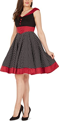 BlackButterfly 'Sylvia' Vintage Polka-Dots Pin-up-Kleid (Schwarz, EUR 40 – M) - 4
