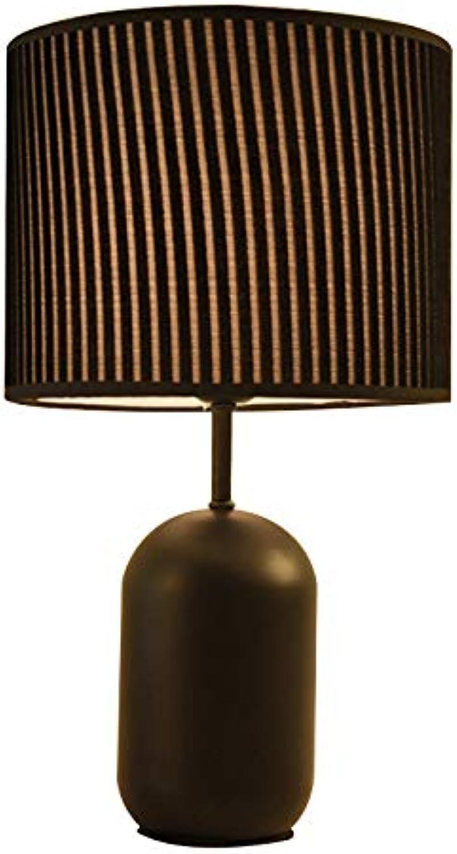 Tischlampe wohnzimmer schlafzimmer nachttischlampe moderne minimalistische kreative studie lernen tischlampe stoff lampe Retro Stil Massivholz Tischlampen mit (ohne Glühlampe) (Farbe   Schwarz)