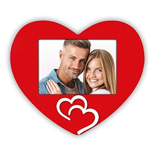 matches21 Marco de fotos intercambiable marco de madera en forma de corazón rojo & 2 aplicaciones de corazón blanco – 13 x 18 cm