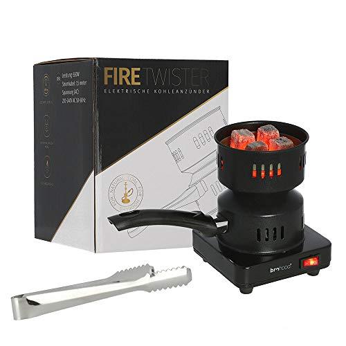 Brohood® FIRETWISTER elektrischer Shisha-Kohleanzünder 650W | Mit Kohlebehälter, Kohlezange und Kohlegitter