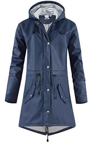 SWAMPLAND Damen PU Regenjacke Mit Kapuze Wasserdicht Übergangsjacke Regenmantel, Blau mit Fleece, Gr.- 42 EU/ Large