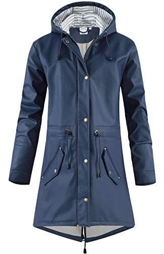 SWAMPLAND Damen PU Regenjacke Mit Kapuze Wasserdicht Übergangsjacke Regenmantel, Blau mit Fleece, Gr.- 44 EU/ XL