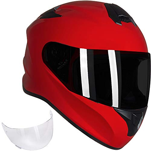 ILM Full Face Motorcycle Street Bike Helmet with Enlarged Air Vents, Free Replacement Visor for Men Women DOT Approved (Red, Large)