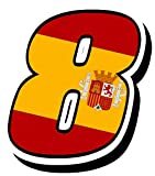 Biomar Labs Número 8 Bandera Nacional España Spain Calavera Vinilo Adhesivo Pegatina Coche Auto Motocross Moto Sport Start Racing Tuning N 288Z