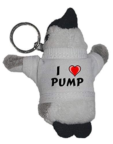 SHOPZEUS Plüsch Pinguin Schlüsselhalter mit T-Shirt mit Aufschrift Ich Liebe Pump (Vorname/Zuname/Spitzname)