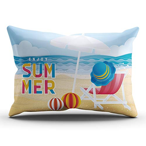 SOSHU Throw Pillow Covers Best Summer Holiday Beach Folding Chair Hat Umbrella and Ball Cushion Cases for Sofa Home Decorative Pillowcases King Size 20x36 Inches Printed One Side