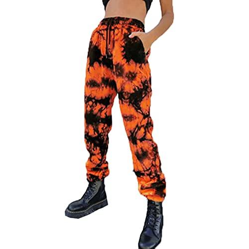 WJANYHN Baumwollhose Damen Tie-Dye-Hose mit weitem Bein Plus Größe lose Hose elastische Taille Stretch Freizeithose
