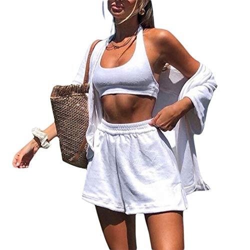 Conjunto de 2 piezas para mujer de verano con camiseta suelta, mini pantalones cortos de manga corta, casual, chándal activo Y2K E-Girl Streetwear, blanco, S