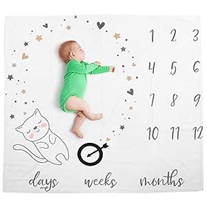 Manta de hito mensual para bebé, franela suave para foto de bebé mes tabla de crecimiento manta accesorios de fotografía de bebé recién nacido fondo para decoración de guardería(Blanco)