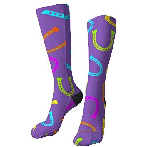 Zapatos de Caballo púrpura Grandes Personalizados Gruesos Calcetines cálidos Calcetines de Vestir a Media Pierna Calcetines Largos de Invierno Casuales para Hombres y Mujeres