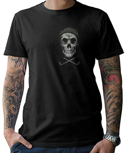 NG articlezz Herren T-Shirt Shirt Golfer Skull – für die Golffans unter Euch. Mit Front- und Rückenprint