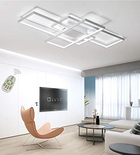 Plafoniera a LED Soggiorno Dimmerabile Soffitto Lamp Moderno Rettangolo Quadrato Designer Lampada a Sospensione con telecomando Cucina acrilica Sala da pranzo Ufficio scala Soggiorno Bianco Lampadari