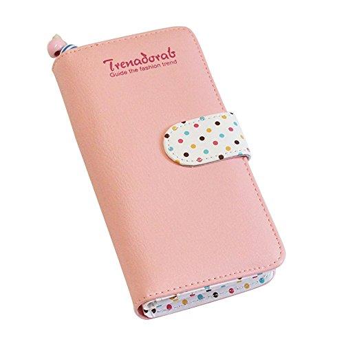 Portemonnaie Geldbörse Schöner Rosa Geldbeutel mit bunten Speckle, Zwei Falten Geldbeutel, Elegante Mädchen Kurze Geldbeutel, Handtasche(Rosa, L)
