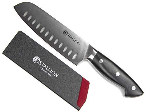 Stallion Professional Messer Santokumesser 17,5 cm - Klinge aus deutschem 1.4116 Messerstahl und Griff aus G10 GFK