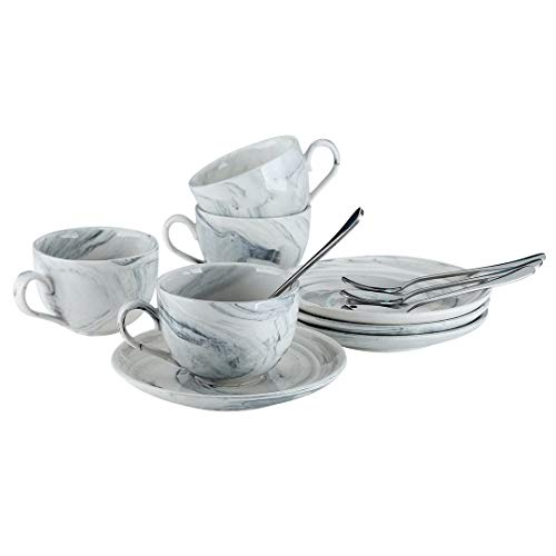 YOLIFE Porzellan-Espresso-Kaffeetassen und Untertassen, Marmorierung, 118 ml, für Kaffee, Keramik-Espresso-Tassen, 4er-Set