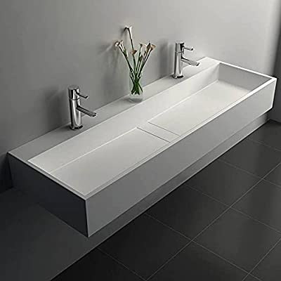 Weibath 47 Inch Wall-Mount Double Sink Stone Resin Trough Bathroom Sink with 2 Faucet Holes (Glossy White)
