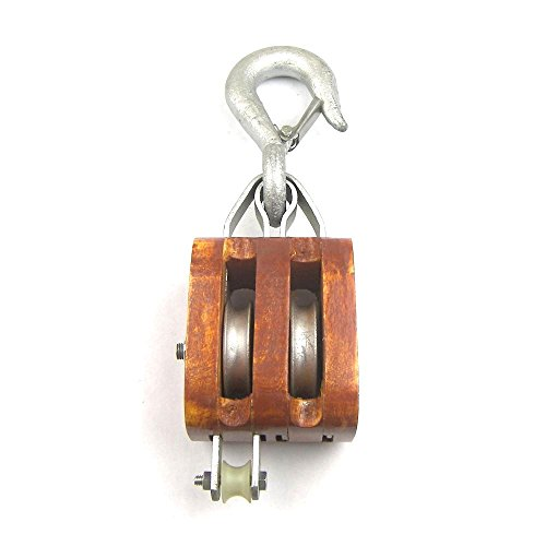 Heavy Duty Load Rated - Double Sheave Rigging Wood Block w/Hook (6