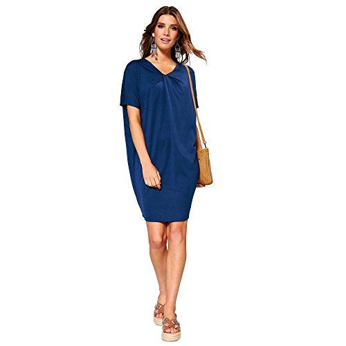 VENCA Vestido Escote v Cruzado en Forma de Nudo Mujer by Vencastyle - 014334,Azul Tinta,M