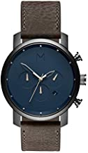 MVMT Chrono Mens Watch, 45 MM | Leather Band, Analog Watch, Chronograph with Date | Matte Blue Cedar