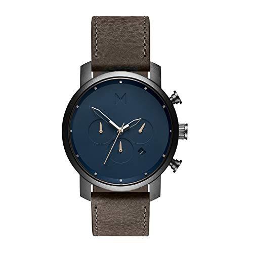 MVMT Chrono Matte Blue Cedar Herren Uhr Armbanduhr Leder MC01-SGR