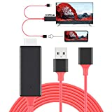 HDMI Cables Adapter USB to HDTV Cable, Tsemy Wire Dongle USB Male + USB Female to HDMI Male 1080P HDTV Mirroring Cable for for Phone/Pad/S9/S8/Note 8 and More Steaming Sharing (Red)