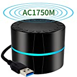 1750Mbps USB WiFi Adapter Soft AP Mode WPS Key USB 3.0 Dual Band (5.8GHz/1300Mbps+2.4GHz/450Mbps) Wireless Network Card for Desktop Laptop with Windows 10/8/7/XP/Vista, Mac OS 10.6-10.13(Black).