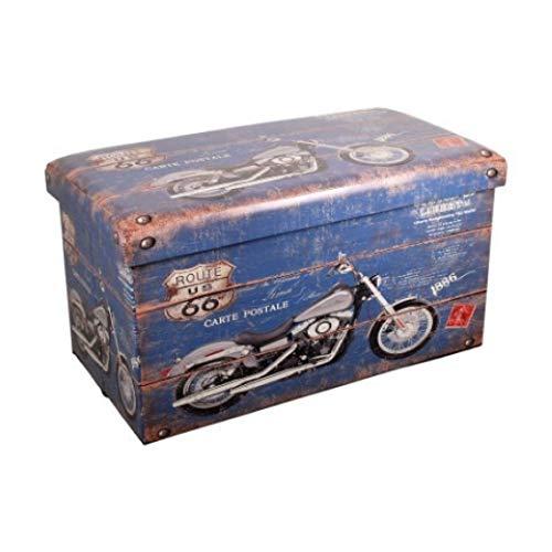 Vidal Geschenkos Opvouwbare houten kist Motorfiets Retro Route 66 76 cm