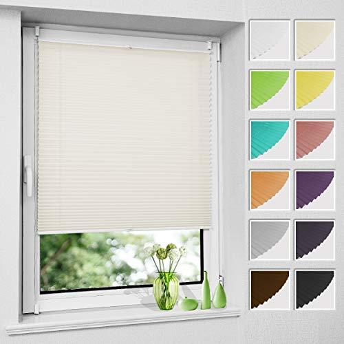 Plissee Klemmfix ohne Bohren, Beige 35 x 100 cm (BxH), Faltrollo Plisseerollo mit Klemmträger, Jalousie Rollos für Fenster und Tür, Sichtschutz und Sonnenschutz