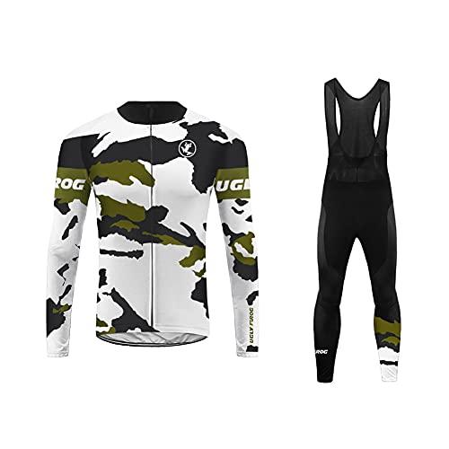 UGLY FROG Bici Maglia Ciclismo Uomo Invernale, Abbigliamento Manica Lunga con Pile Termico e Pantaloni Lunghi Sapolette Professionale per MTB Ciclista Mountain Bike