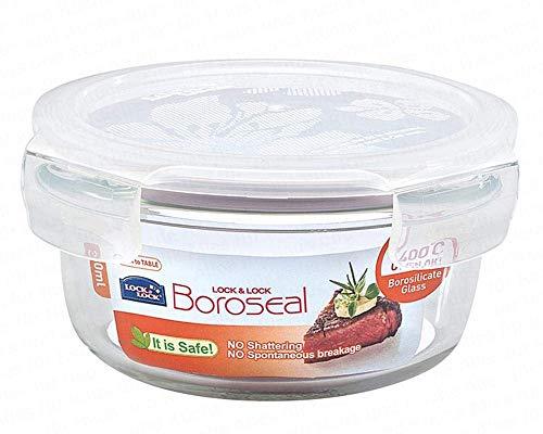 2 Stück Lock & Lock Boroseal LLG821A, Frischhaltebehälter aus Borsilikatglas, 380 ml, Vorratsdose rund, Ø 130 x 65 mm, Set by Danto®