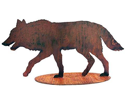 itsisa ® Dekofigur Wolf auf Platte im Rost Design, Rostfigur für den Garten, Gartendeko