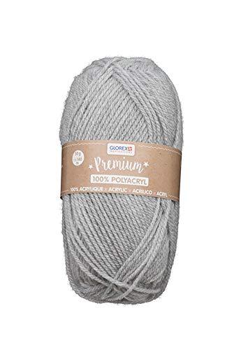 Glorex 5 1001 13 - Gomitolo di lana Premium, 100% acrilico, facile da applicare, versatile, caldo, morbido, non graffia, 50 g, circa 140 m, colore: Grigio