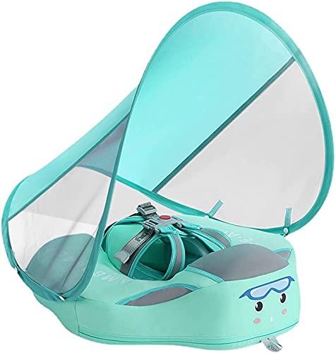 Flotador de natación para bebé, no inflable Anillo de Natación con toldo desmontable para sombrilla con anillo de asiento seguro para niños de 6 a 36 meses bebé