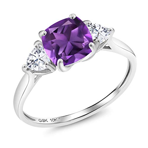 Gem Stone King 10K White Gold Purple Amethyst and Timeless Brilliant Created Moissanite 3-Stone Women Engagement Ring (1.86 Cttw, Gemstone Birthstone) (Size 5)