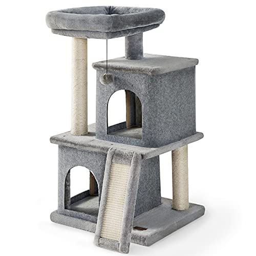Lesure Cat Tree for Indoor Cats - Large Cat Tower Condos with Scratching Post and Platform, Multi-Level Pet Play House Stable Kitty Furniture, 34 inches Tall, Grey
