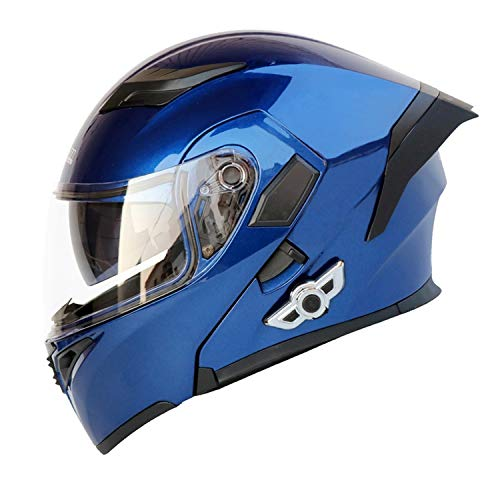 "LuanYe Bluetooth Integrated Motorcycle Helmets Full Face Flip up Dual Visors Modular Motorcycle Street Bike Helmet (Blue, L-23.23""-23.62"")"