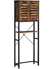 VASAGLE Toiletplank, badkamerplank, badkamerrek met stalen frame, eenvoudige montage, industrieel ontwerp, 60 x 24 x 169,5 cm, vintage bruin-zwart BTS004B01